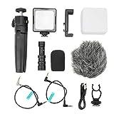 Akozon Luz de Relleno con Kit de micrófono trípode Soporte de teléfono Flexible para teléfono móvil con cámara sin Espejo