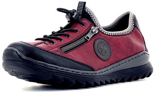 Rieker M6269 Damen Schnürer, Schnürhalbschuhe, Schnürschuhe, Trekking Schuhe, Memosoft-Decksohle, Schnellschnürung rot Kombi (schwarz/Wine/dust/schwarz/dust / 00), EU 38