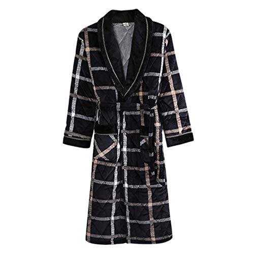 Bata De Casa De Los Hombres De Franela Pijamas Otoño Invierno Casa A Cuadros Albornoz Espesar Loungewear,Black-XL