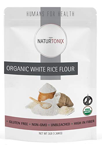 Naturtonix White Rice Flour, 3 LB Resealable Pouch, Batch Tested and Verified Gluten Free, Non GMO and Certified Kosher, Product of the USA