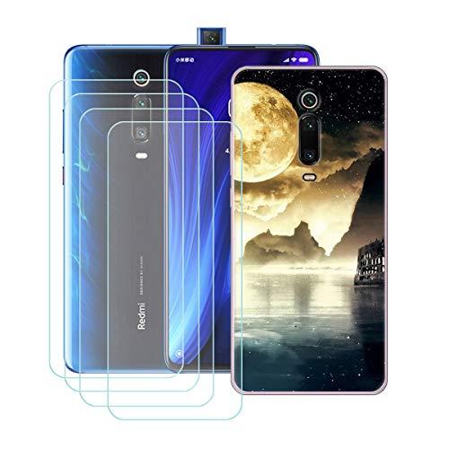 """YZKJ Funda para Xiaomi Mi 9T Pro/Redmi K20 Pro Trasparente Carcasa Silicona TPU Suave Caso Case + 4 Piezas Protector de Pantalla Cristal Templado Film Película Protectora para (6.39"""")"""