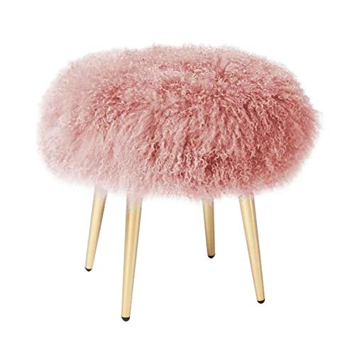 HXiaDyG Silla de la Vanidad Moderno Minimalista Vestido De Playa Taburete Acero Inoxidable Dormitorio Dormitorio Sofá Sofá Zapato Cambio De Taburete Sillones (Color : Pink, Size : 45x45cm)