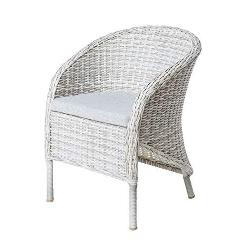 Tuinstoel, rotan, wit, met kussen, Almada – L 65 x B 62 x H 79 cm