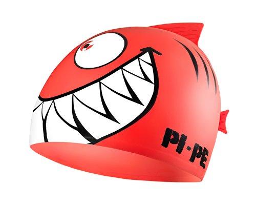 PI-PE Sharky - Cuffia da Piscina, per Bambini, Rosso (Rosso), Taglia Unica