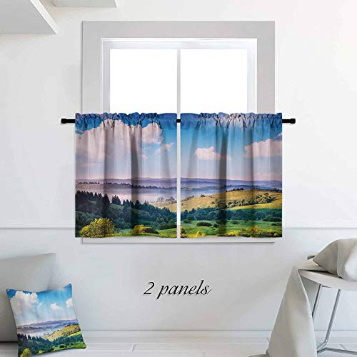 Landscape Short Curtain Natural Decor Illustration of a Sunny Day in Mountain Landscape Pattern Print Blackout Window Treatment 42 x 30 inch