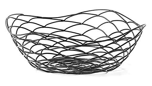 DMFSHI Fruttiera in Metallo, 1 Piece Cesto Portafrutta, Design in Filo Metallico con Controsoffitto Decorativo dallo Stile Moderno per Mantenere Frutta e Verdura Fresca (Nero, 22 * 7 cm)