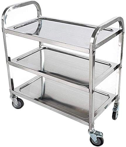 Best Deals! BBG Recycling Car,Catering Stainless Steel Serving Trolley Tea Trolley Kitchen Cart 3 Sh...