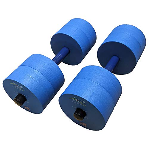 Aquamentor Water Exercise Dumbbells - Set of 2 - Made in The USA (Blue, Heavy Resistance)