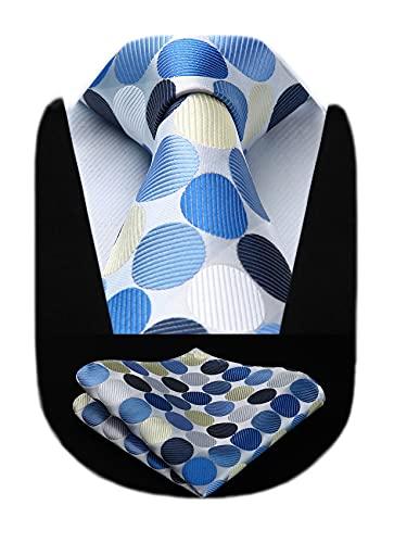 Hisdern HISDERN Extra lange Tupfen Krawatte Taschentuch Herren Krawatte & Einstecktuch Set (Beige & Blau)