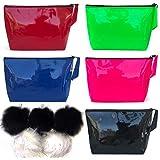 Rednose - Cosmetic Bag for Purse, 5 Pcs - Makeup Bag, 5 Pcs - Fur Pom Pom - Keychain Set, (Pack of 10) Makeup Bag Set - Bulk, Pencil Case - Cosmetic Bag, Waterproof - Toiletry Case, Accessories Pouch, Travel - Makeup Case, Organizer - Purse.
