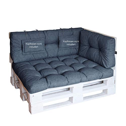 LILENO HOME Palettenkissen Set Jeans - Set 3: (1x Sitzteil + 1x Rückenteil + 1x Seitenteil) - Polster für Europaletten - Palettenkissen Outdoor als Sitzkissen für Palettenmöbel