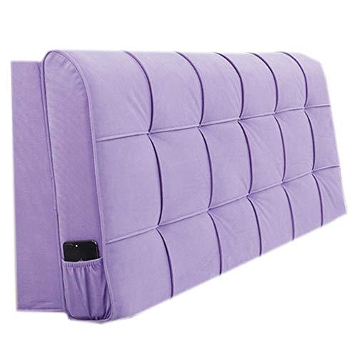 Headboard Bedside Cushion Pads Cover Bed Wedges Backrest Waist Pad,Cushion Bedside Cushion Bed Wedge Simple and Modern Bedroom Detachable,Purple,180 * 58 * 10cm