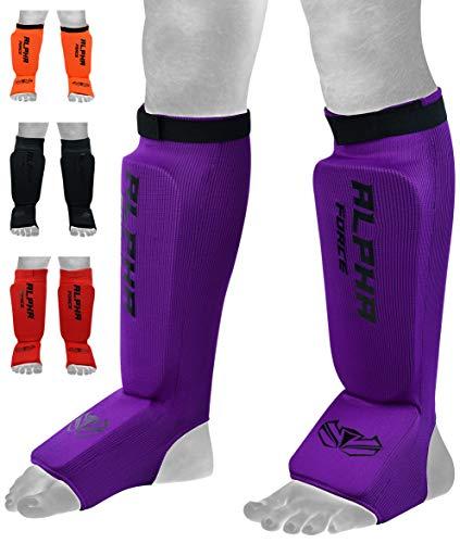 ALPHA FORCE X Schützende Beinpolster, für Kickboxen, MMA, Muay Thai Schienbein- und Instep Guards Beinpolster, waschbar, violett, Größe S
