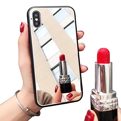 [Updated Version] Real Mirror Case Luxury Clear Back Mirror Shock-Absorption TPU Bumper Case Anti-Scratch Bright Reflection Protective Case Cover for Apple iPhone (7/8 Plus)