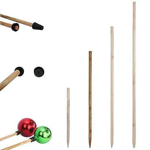 1PLUS Holzstab für Rosenkugeln Gartenkugeln in verschiedenen Längen aus massivem Holz - Stock Stab für Dekokugeln Kugel Dekoration - Rosenkugelstab für die Befestigung der Kugel (80 cm)