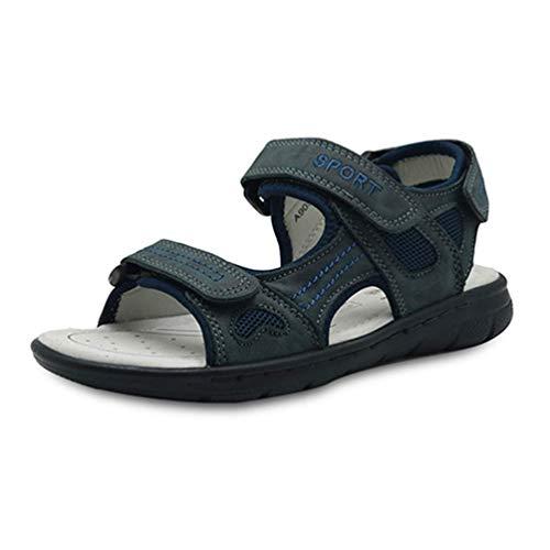 Beach Sandals Kids Summer Hook & Loop Genuine Leather Flat Orthopedic Shoes,Navy,4.5