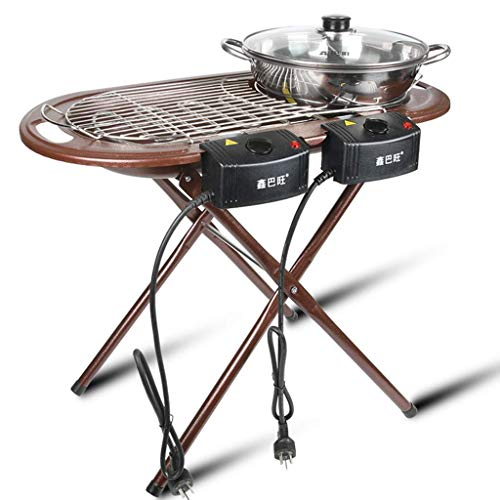 GJJSZ Four électrique Plateau électrique Ménage Antiadhésif Barbecue Hot Pot Un Hot Pot Multi-Fonction Four en Acier Inoxydable Four Autoportant