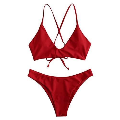 ZAFUL - Bikini acolchado para mujer, con cierre de nudo delantero y trasero, bañador para verano Rosso Annodato. M