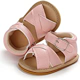 Baby Boys Girls Rubber Sole PU Leather Sandals,Infant Beach Anti-Slip First Walker Summer Shoes,NewBorn Beach Outdoor Breathable Gift (A01-Pink, 6-12 months)