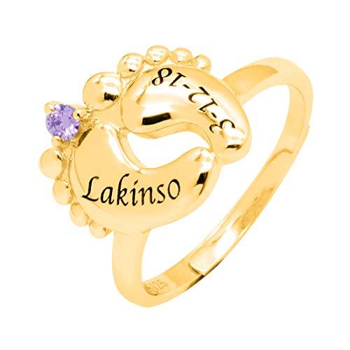 Collienght Ring Geschnitzte Baby Fuß Birthstone Ring Name Ring angepasst Ring Memorial Geschenk einstellbar für Mutter(18ct Gold Plated Silber einstellbar)