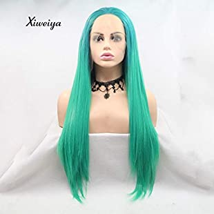 Xiweiya Ombre Green Wigs Long Silky Straight Hair Synthetic Green Lace Front Wigs Long Hair Heat Resistant Fiber Soft Hair Free Parting:Comoparardefumar