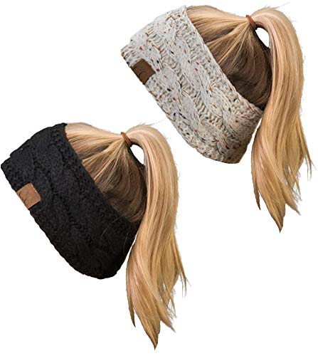 HW-6033-2-67-20a-06 Headwrap Bundle - 1 Confetti Oatmeal, 1 Solid Black (2 Pack)