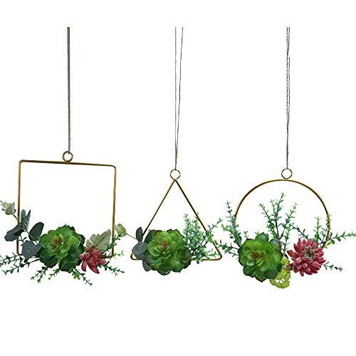 Timagebreze Conjunto de 3 Plantas Suculentas Artificiales Corona de Aro Floral y Guirnalda de Hojas Verdes para DecoracióN de Pared de GuarderíA de TelóN de Fondo de Boda