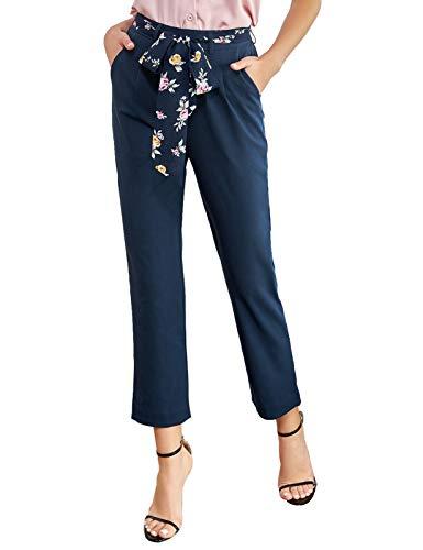 GRACE KARIN Donna Pantaloni a Matita a Vita Alta con Cintura Ritagliati Casual Traspirante Comede Blu 2XL CL0141S21-2