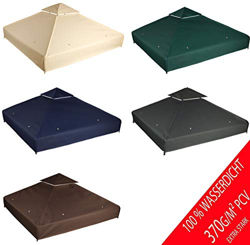 freigarten.de Ersatzdach für Pavillon 3x3 Meter Wasserdicht Material: Panama PCV Soft 370g/m² extra stark Modell 1 (Anthrazit)