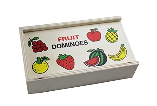 Dominó Frutas Madera 28 Piezas para niños Juegos de Memoria Juegos Juguetes educativos Niños .
