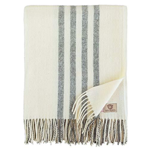 Linen & Cotton Plaid, Couverture en Laine, Couvre-Lit de Luxe Venice - 100% Laine Merinos (140 x 200cm) Gris Foncé/Blanc de Lait