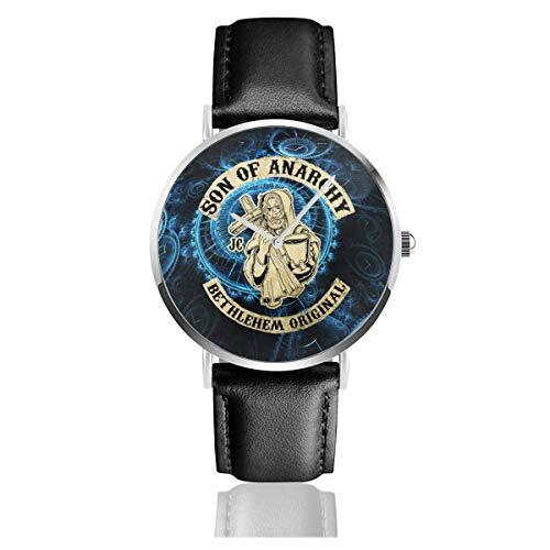 Reloj Oficial con Correa de Cuero Sons of Anarchy, Pulsera de Cuarzo Casual de Acero Inoxidable, Correa de Cuero Negro y Esfera Fina