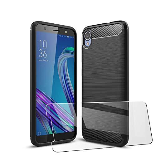 LJSM für ASUS Zenfone Live L2 ZA550KL Hülle Schwarz Kohlefaser + Panzerglas Bildschirmschutzfolie Schutzfolie - Weich Schutzhülle Flexibel TPU Tasche Hülle für ASUS Zenfone Live L2 ZA550KL (5.5