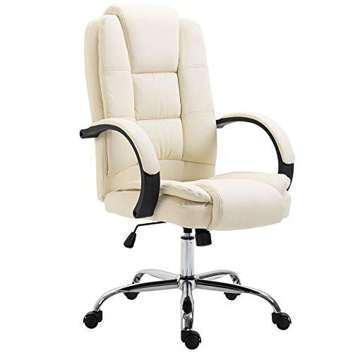 Vinsetto High Back Executive Office Chair Ergonomic Design Adjustable Soft Padded Seat Height 360° Swivel PU Leather Beige