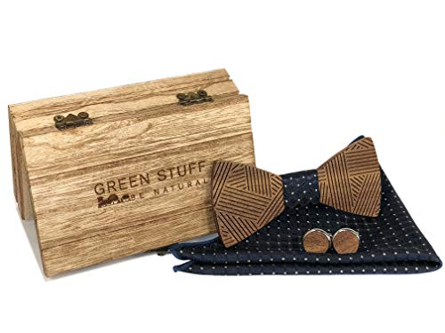 Green Stuff - Papillon in legno di noce realizzato a mano con gemelli e fazzoletto abbinati, 1 prodotto acquistato = 1 albero piantato [Blau Silber Gepunktet] 36
