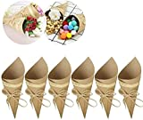 50 Conos de Papel Kraft + 50 Cuerdas + 50 Pegatinas Paquetes para Caramelos, Arroz, Cajas para Caramelos de Boda