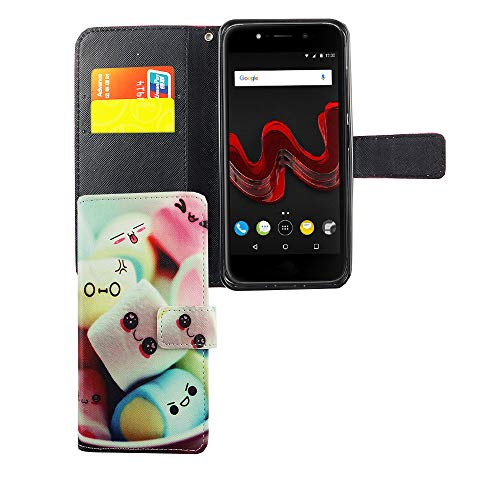 König Design Handyhülle Kompatibel mit Wiko Wim Lite Handytasche Schutzhülle Tasche Flip Hülle mit Kreditkartenfächern - Marshmallows