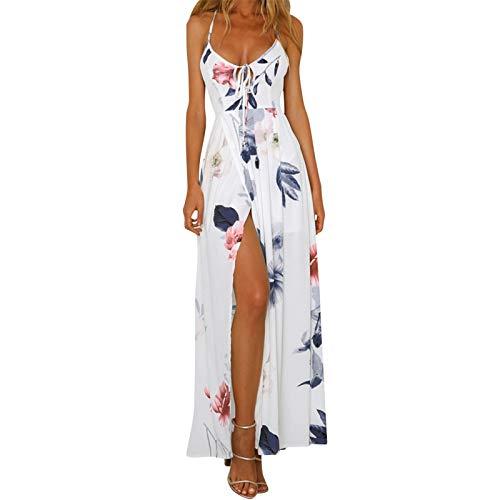 Affordable BAOHOKE High Split Floral Sheer Chiffon Sling Long Dresses,Summer V Neck Cross Back Halte...