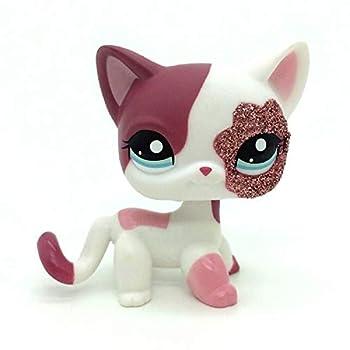 N/N Mini Littlest Pet Shop LPS Toy 2inch Pink White Sparkle Glitter Short Hair Cat Kittey Kitty LPSs Figures Kid Gift