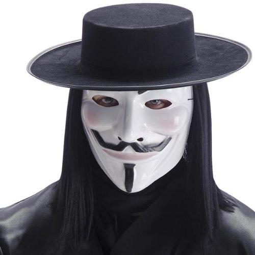 Maschera V for vendetta in plastica bianca anonymous
