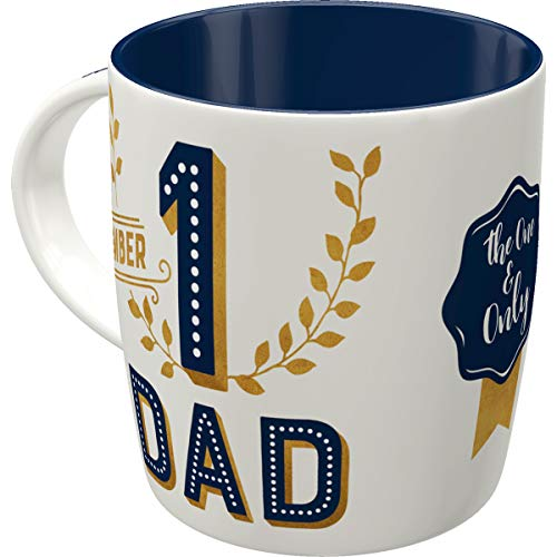 Nostalgic-Art Retro Kaffee-Becher - Word Up - Number 1 Dad, Lustige große Retro Tasse mit Spruch, Vintage Geschenk-Idee für den besten Vater, 330 ml