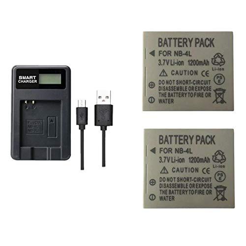 2 PC 1200mAh NB-4L NB4L Batterie mit LCD-Einzel-Ladegerät für Canon IXUS 50 55 60 65 80 75 100 I20 110 115 120 130 is 117 220 225