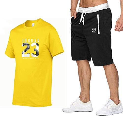 FZYQY Camiseta de Manga Corta para Hombre y Pantalones Cortos para Correr, Pantalones Cortos para Correr Ligeros y cómodos Jordan 32 para Entrenamiento y Jogging Ocio al Aire Libre/C/XXX