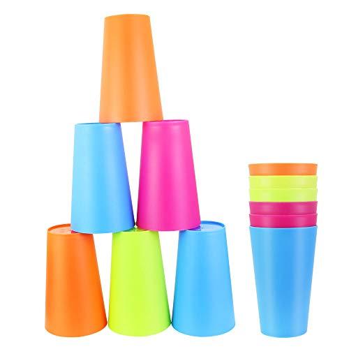 EMAGEREN Kit de 12 pcs Vasos Plastico de Colores Vaso de Plástico de PP Vasos Reutilizables de 450 ml Vasos Apilables y Anti-caída para Fiesta/Parrilla/Cumpleaños/Viajes Familiares - 4 Colores