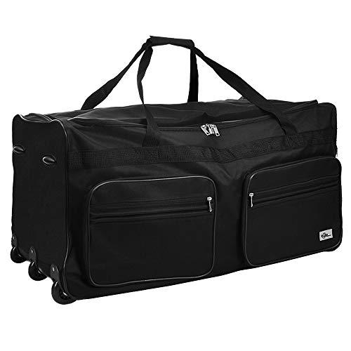 Deuba Borsone da viaggio con ruote XXL 85x43x44cm 160 L Trolley Borsa da viaggio Borsa sportiva bagaglio valigia manico telescopico nero