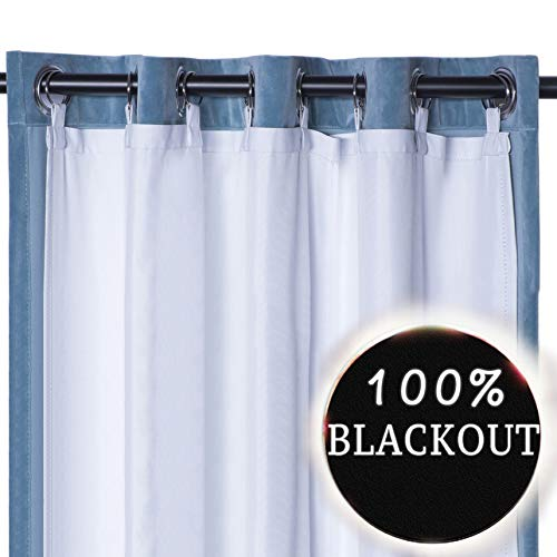 Rose Home Fashion Thermal Insulated Blackout Curtain Liner Panel-Ring Included- Thermal Liner for Curtains, Curtain Liner 100% Darkening,Blackout Liner White for 63 inch Curtains:50'x59'-Ring