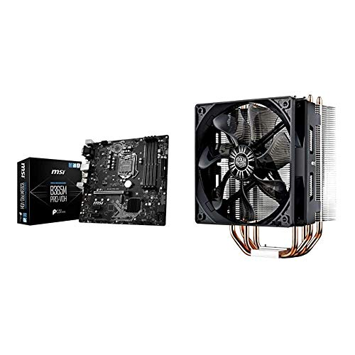 MSI ProSeries Intel B365 LGA 1151 Support 9th/8th Gen Intel Processors Gigabit LAN DDR4 USB/DVI-D/VGA Micro ATX Motherboard & Cooler Master Hyper 212 Evo CPU Cooler, 4 CDC Heatpipes, 120mm PWM Fan