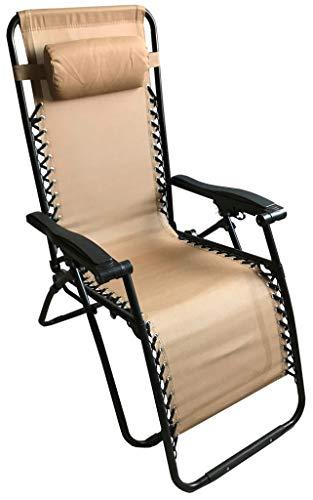 Tumbona Gravity plegable de metal con textileno beige, respaldo reclinable regulable en 2 posiciones con reposacabezas para playa, camping, piscina, jardín, playa, tomar sol