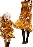 WIWIQS Vintage Long Sleeve Ruffle Shoulder Party Dress Plain Color Crewneck A Line Dress Knee Length Cute Dress Gold L