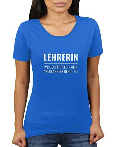 KaterLikoli - Camiseta para mujer con texto en alemán 'Lehrerin Weil Superheldin' azul real S